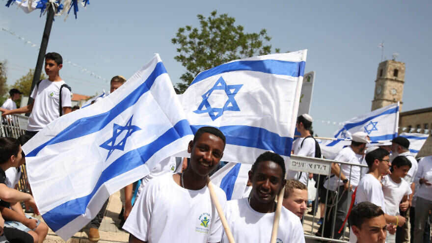 Israeli youth march with Israeli flags in solidarity with residents of the country's south and in celebration of 71 years since the recapture of the northern city of Tzfat, on May 6, 2019. Photo by David Cohen/Flash90.