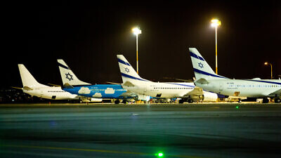 Passenger jets belonging to Israeli national airline El Al at Ben-Gurion International Airport in Lod, Israel, on March 16, 2018. Photo by Moshe Shai/Flash90.