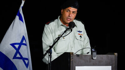 Israel Defense Forces' Deputy Chief of Staff Maj. Gen. Eyal Zamir speaks at a graduation ceremony for new Israel Navy officers in Haifa on Sept. 4, 2019. Photo by Flash90.