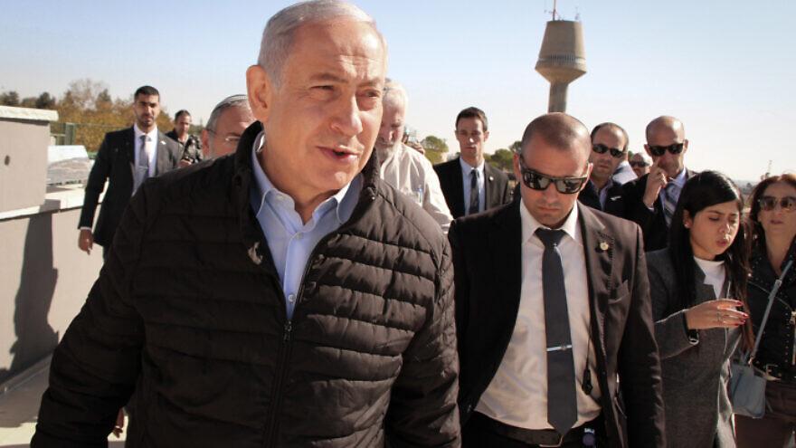 Israeli Prime Minister Benjamin Netanyahu visits the Jewish settlement of Alon Shvut, in Gush Etzion in the West Bank, on Nov. 19, 2019. Photo by Gershon Elinson/Flash90.