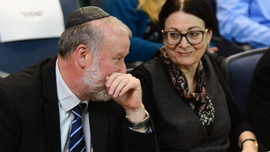 Israeli Attorney General Avichai Mandelblit with Supreme Court president Justice Esther Hayut, at Bar-Ilan University in Ramat Gan, on March 4, 2020. Photo by Flash90.