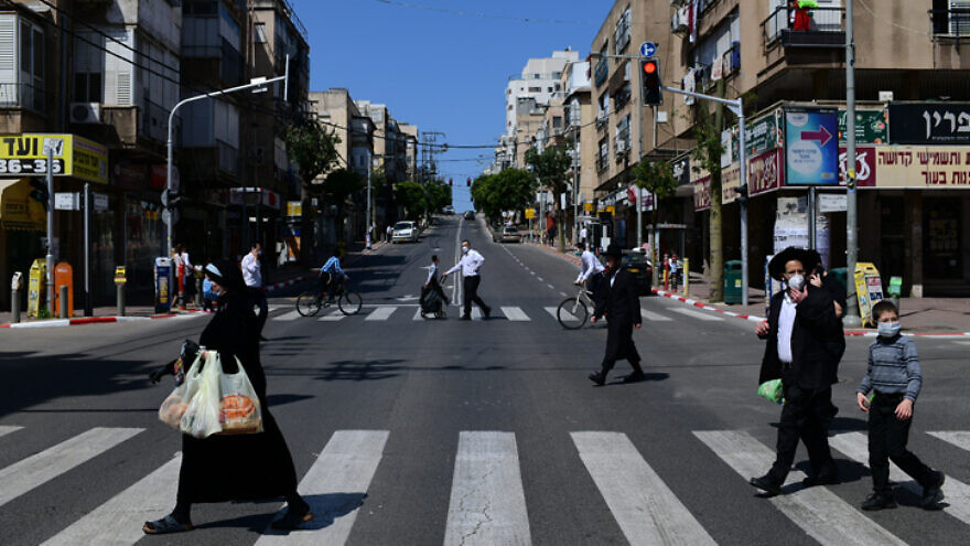 Bnei Brak, Israel, on April 3, 2020. Photo by Tomer Neuberg/Flash90.