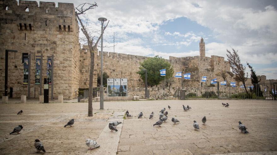 Jaffa Gate in the Old City of Jerusalem on April 10, 2020. Photo by Yonatan Sindel/Flash90.
