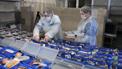 Nutritious daily meals for seniors in Russia are being prepared and delivered to those under quarantine due to the coronavirus pandemic; the food program will run through April 2020. Credit: Airports of Regions holding company (AR).
