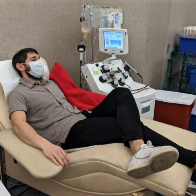 Mendel Mangel, 20, son of Devorah and Rabbi Nochum Mangel of Oakwood, Ohio, donates plasma at the Community Blood Center as part of the Dayton COVID-19 Convalescent Plasma Project,  April 6. 2020.  Credit: Courtesy.