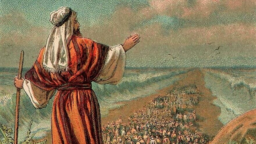 Illustration of the Israelites' Exodus from Egypt, guided by the prophet Moses, 1907, the Providence Lithograph Company. Credit: Wikimedia Commons.