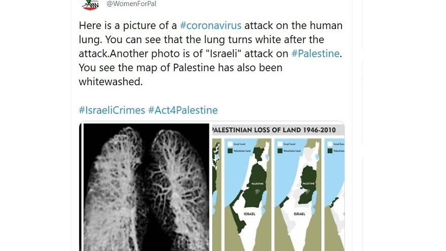 Screenshot of a tweet comparing COVID-19 infection of the lungs to Israel's policies regarding the Palestinians. Source: Twitter.