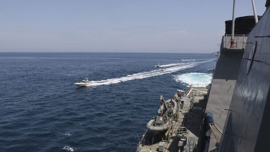 Islamic Revolutionary Guard Corps Navy vessels conducting dangerous and harassing approaches to U.S. naval vessels in the international waters of the North Arabian Gulf. Source: U.S. Navy.
