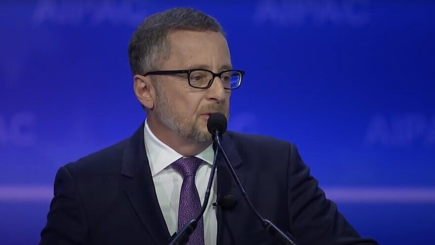 Arthur Stark, chairman of the Conference of Presidents of Major American Jewish Organizations, addressing the 2020 AIPAC policy conference. Source: Screenshot.