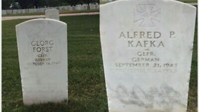 Two undated photos of POW gravestones vandalized with swastikas at the Fort Sam Houston National Cemetery in San Antonio, Texas. Credit: Military Religious Freedom Foundation.