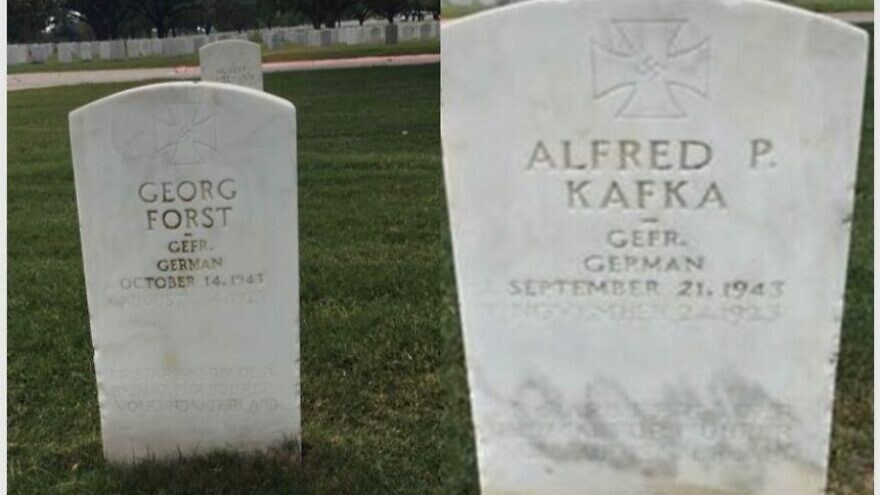 Two undated photos of POW gravestones inscribed with swastikas at the Fort Sam Houston National Cemetery in San Antonio, Texas. Credit: Military Religious Freedom Foundation.