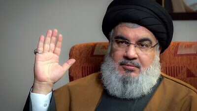 Hezbollah leader Hassan Nasrallah during a discussion with officials from Iranian Supreme Leader Ali Khamenei's office, on Sept. 23, 2019. Photo: Wikimedia Commons.