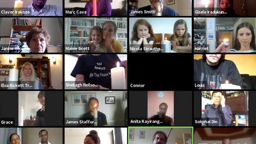 A view of an virtual session between genocide survivors and participants with the United Kingdom's National Holocaust Centre and Museum. Source: United Kingdom's National Holocaust Centre and Museum via Facebook.
