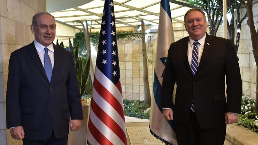Israeli Prime Minister Benjamin Netanyahu and U.S. Secretary of State Mike Pompeo in Jerusalem on May 13, 2020.  Photo by Kobi Gideon/GPO.