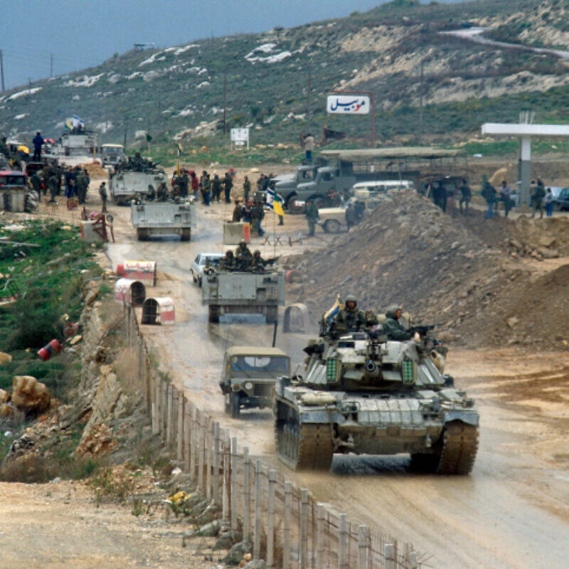 Israel Defense Forces vehicles drive over the Awali bridge as they retreat from Lebanon on the first day of stage one of the planned retreat, Feb. 16 1985. Photo by Yossi Zamir/Flash90.