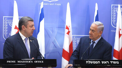 Israeli Prime Minister Benjamin Netanyahu holds a joint press conference with former Georgian Prime Minister Giorgi Kvirikashvili in Jerusalem, on July 24, 2017. Photo by Marc Israel Sellem.