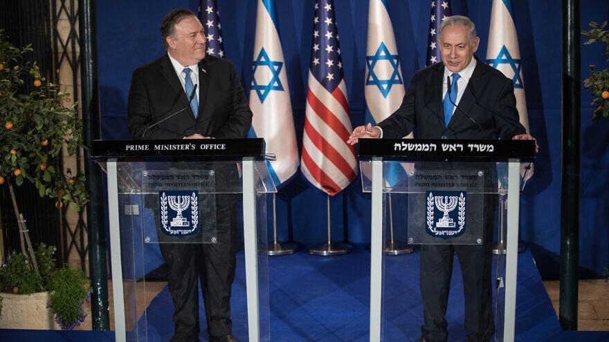 Israeli Prime Minister Benjamin Netanyahu and U.S. Secretary of State Mike Pompeo in Jerusalem on March 20, 2019. Photo: Hadas Parush/Flash90.