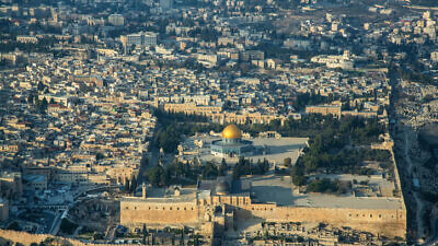 An aerial view of the Old City of Jerusalem, Dec. 17, 2019. Photo by Moshe Shai/Flash90.