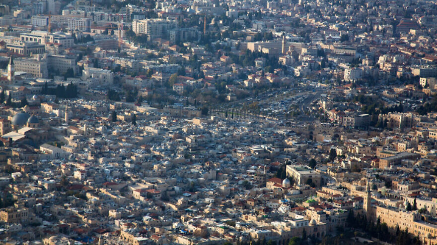 An aerial view of eastern Jerusalem, Dec. 17, 2019. Photo by Moshe Shai/Flash90.