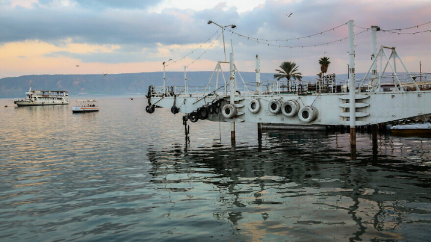 The Sea of Galilee as seen from the beach promenade in the northern Israeli city of Tiberias, on Jan. 30, 2020. Photo by David Cohen/Flash90.