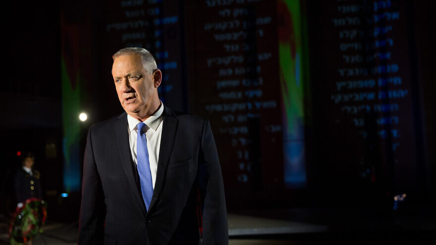 Benny Gantz attends a Memorial Day ceremony at the Knesset, the Israeli Knesset in Jerusalem on April 21, 2020. Photo by Flash90