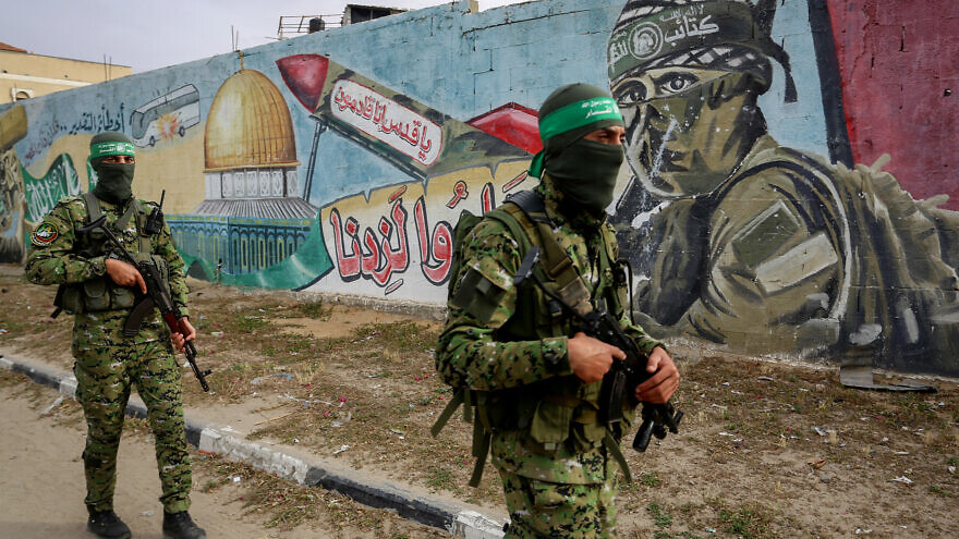 Palestinian members of Izz ad-Din al-Qassam Brigades, the armed wing of the Hamas movement seen during a patrol in Rafah, in the southern Gaza Strip on April 27, 2020. Photo by Abed Rahim Khatib/Flash90