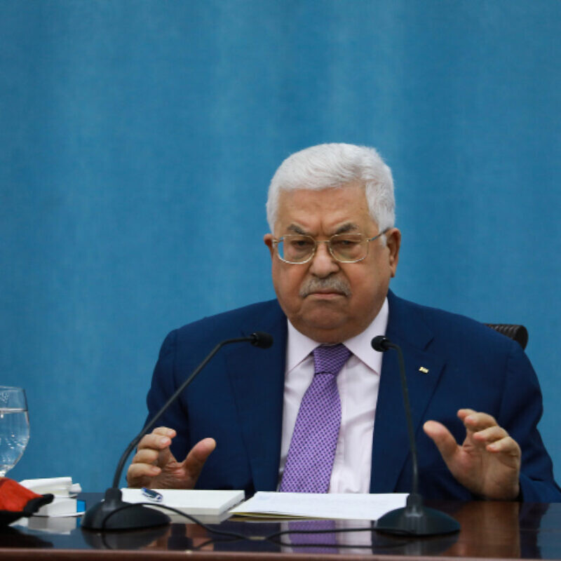 Palestinian Authority leader Mahmoud Abbas delivers a speech regarding the coronavirus outbreak, at P.A. headquarters in the West Bank city of Ramallah, on May 5, 2020. Photo by Flash90.