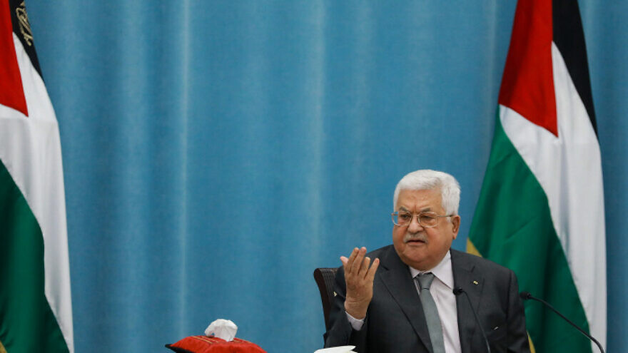 Palestinian Authority leader Mahmoud Abbas speaks during a meeting of the Palestinian leadership in Ramallah, May 7, 2020. Photo by Flash90.