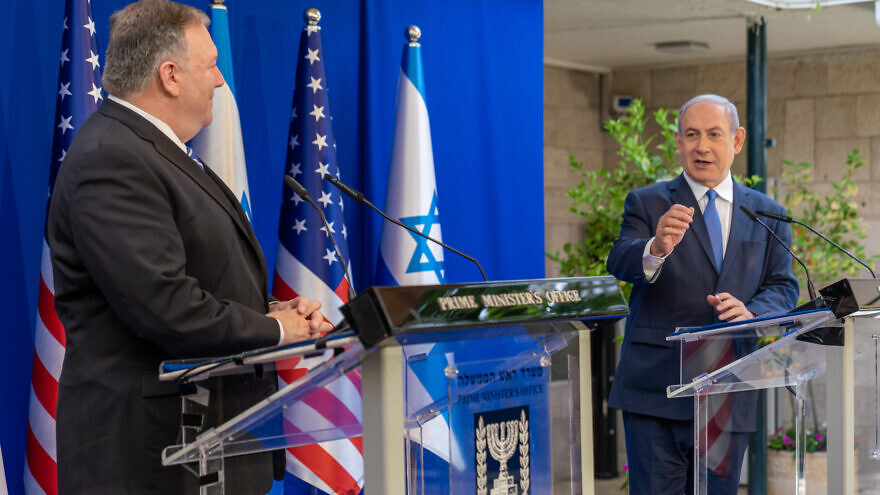 Handout photo of U.S. Secretary of State Michael R. Pompeo with Israeli Prime Minister Benjamin Netanyahu at the Prime Minister's Residence in Jerusalem. May 13, 2020. Photo by Ron Przysucha / U.S. State Department.