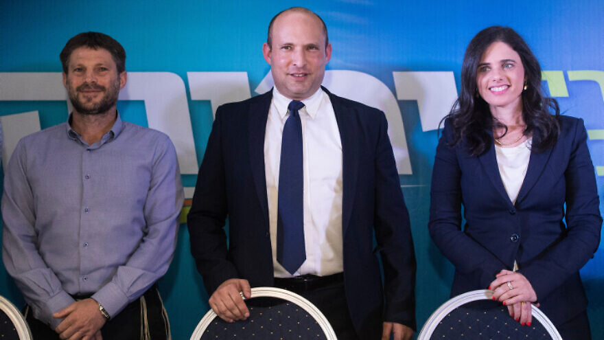 Naftali Bennett, Ayelet Shaked and Bezalel Smotrich of Israel's right-wing Yamina Party hold a press conference in Jerusalem on May 14, 2020. Photo by Yonatan Sindel/Flash90.