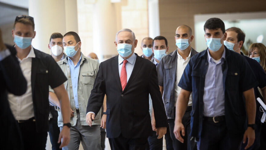 Israeli Prime Minister Benjamin Netanyahu arrives to a Likud Party meeting at the Knesset, in Jerusalem on May 25, 2020. Photo by Flash90.