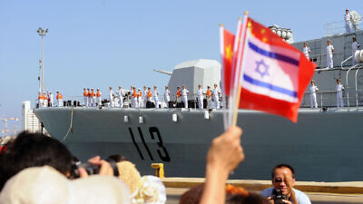 The Israel Navy congratulates the Chinese Navy on docking at the Haifa port. On Aug. 13, 2012, the Chinese vessels arrived at Israel in order to celebrate 20 years of cooperation between the Israel Navy and the Chinese Navy. RADM Yang Jun-Fei was welcomed by the Haifa base commander, Brig. Gen. Eli Sharvit, upon his docking. Credit: Wikimedia Commons.