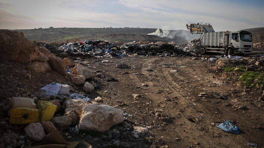 Mounds of garbage disposed of outside the Palestinian village of Rammon on Dec. 8, 2014. Photo by Hadas Parush/Flash90.