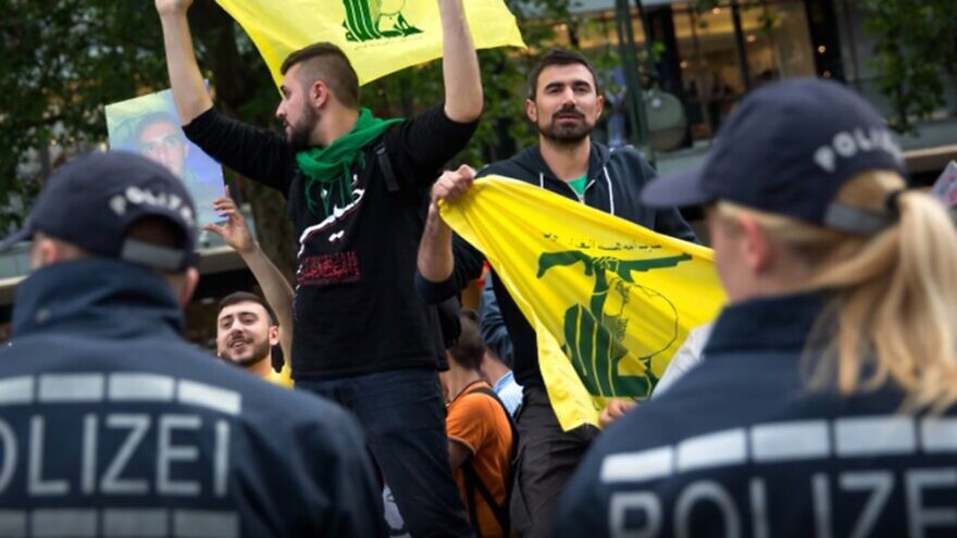 Pro-Hezbollah supporters at a rally in Germany. Source: Screenshot.