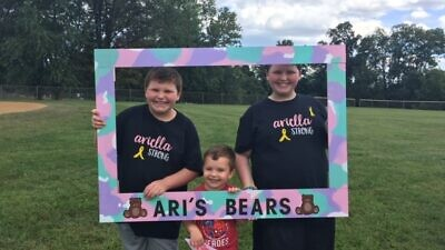 Daniel Dressin's bar mitzvah project honors the memory of his friend, Ariella Stein. The Baltimore-area youngster is raising money for her organization Ari's Bears which provides stuffed animals to children undergoing cancer treatments. Credit: Courtesy.