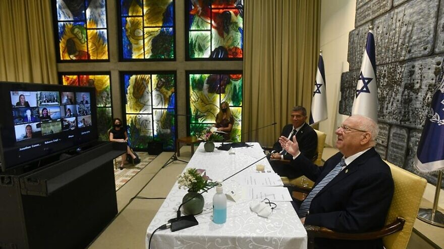 Israeli President Reuven Rivlin and Foreign Minister Gabi Ashkenazi hold a video conference with American-Jewish leaders on June 10, 2020. Source: Facebook.