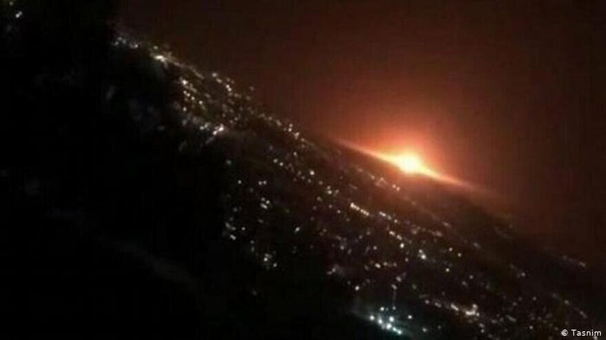 An explosion at the Parchin complex near Tehran on June 26, 2020. Credit: Tasnim News Agency.