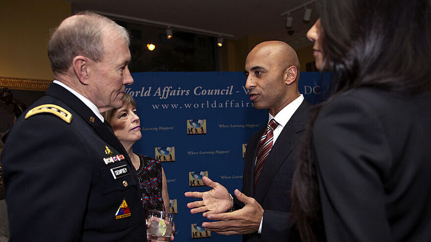 U.S. Gen. Martin E. Dempsey, chairman of the Joint Chiefs of Staff (left), and his wife Deanie with UAE Ambassador Yousef Al Otaiba at the 2013 World Affairs Council Global Education Gala held at the Ritz-Carlton in Washington, D.C., on March 7, 2013. DOD Photo By: U.S. Army Staff Sgt Sun L. Vega.