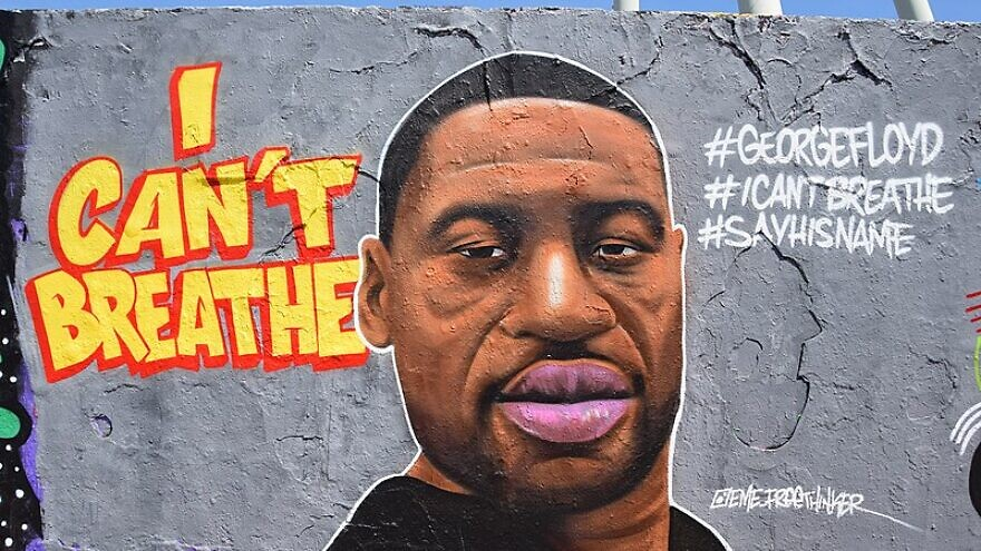A mural of George Floyd, 46, who died as a result of police brutality in Minneapolis on May 25, 2020, by Eme Street Art in Mauerpark in Berlin, Germany. Credit: Wikimedia Commons.