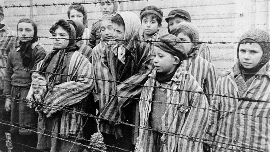 Jewish twins were kept alive to be used in Dr. Josef Mengele's medical experiments. These children from Auschwitz were liberated by the Red Army in January 1945. Credit: USHMM/Belarusian State Archive of Documentary Film and Photography.