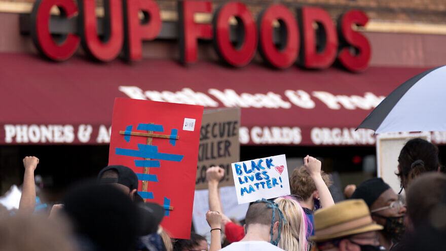 Protesters gather outside of the Cup Foods store in Minneapolis, near the site where George Floyd, 46, was killed at the hands of a police officer, May 26, 2020. Credit: Lorie Shaull via Wikimedia Commons.
