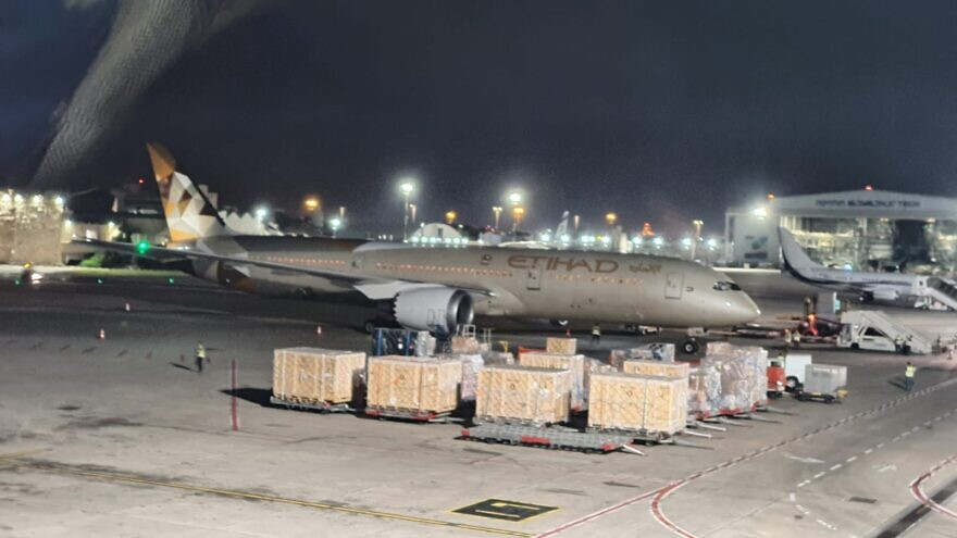 An Etihad cargo plane from the UAE, delivering aid to the Palestinian Authority arrives in Israel on June 9, 2020.  Source: Twitter, Yuval Rotem.