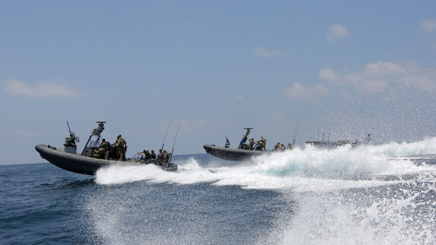 """Israeli Navy soldiers off the Gaza coast during """"Operation Protective Edge,"""" July 28, 2014. Photo by Edi Israel/Flash90."""