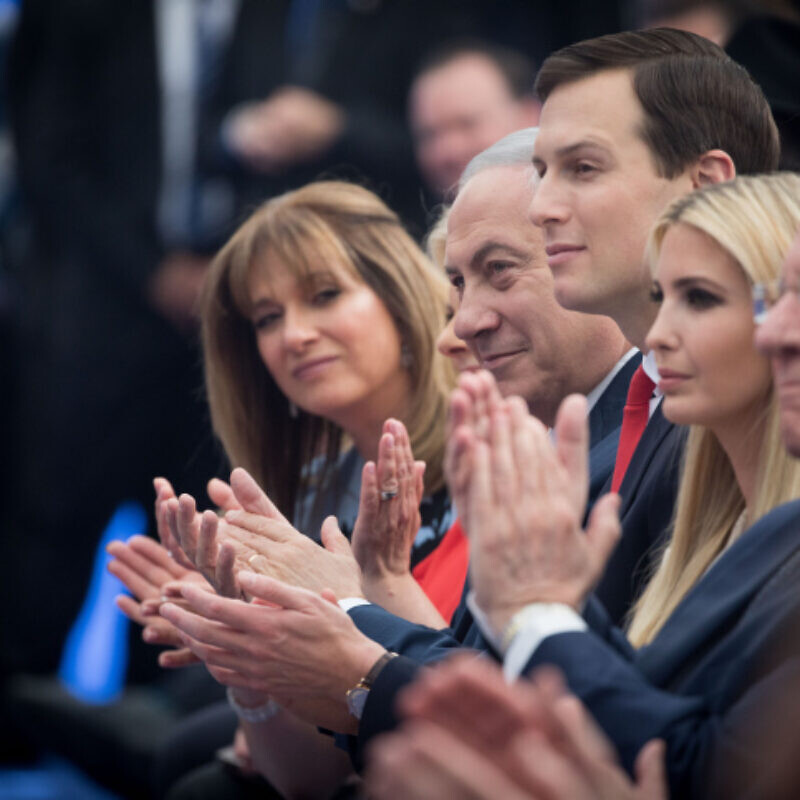 Israeli Prime Minister Benjamin Netanyahu with Ivanka Trump, daughter of U.S. President Donald Trump, and senior adviser and presidential son-in-law Jared Kushner at the official opening ceremony of the U.S. embassy in Jerusalem on May 14, 2018. Photo by Yonatan Sindel/Flash90.