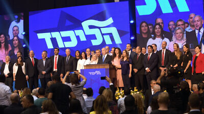 Israeli Prime Minister Benjamin Netanyahu, head of the Likud Party, attends an event with other party members after the release of initial voting results in the Israeli general elections, at the party headquarters in Tel Aviv, on Sep. 17, 2019. Photo by Gili Yaari/Flash90.