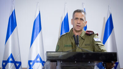 IDF Chief of Staff Lt. Gen. Aviv Kochavi delivers a statement to the press at the Kirya military headquarters in Tel Aviv on Nov. 12, 2019. Photo by Miriam Alster/Flash90.