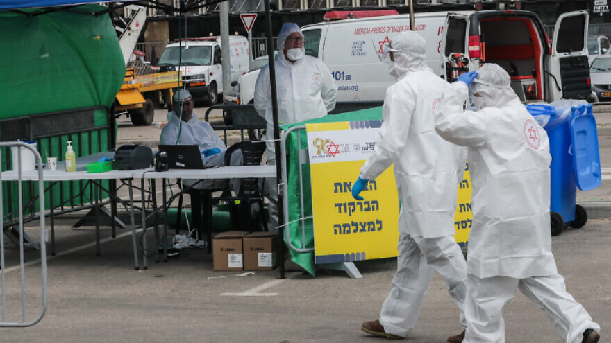 The Israeli Magen David Adom national emergency service at a coronavirus testing complex in Bnei Brak on April 1, 2020. Photo by Yossi Zamir/Flash90.