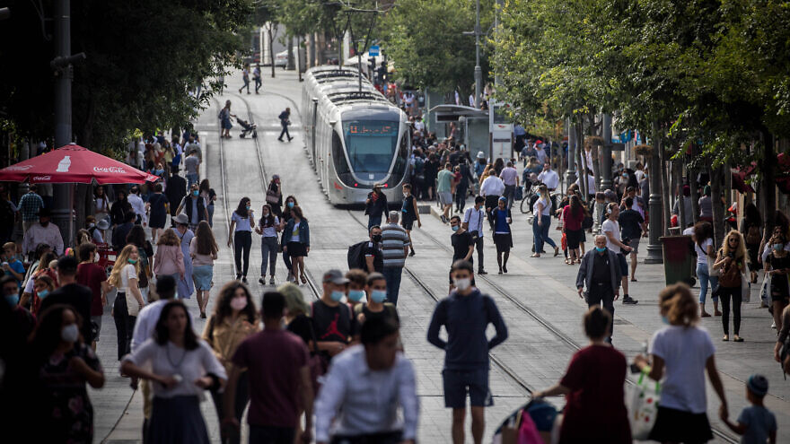 People walk on Jaffa Street in downtown Jerusalem on June 4, 2020. Photo by Yonatan Sindel/Flash90
