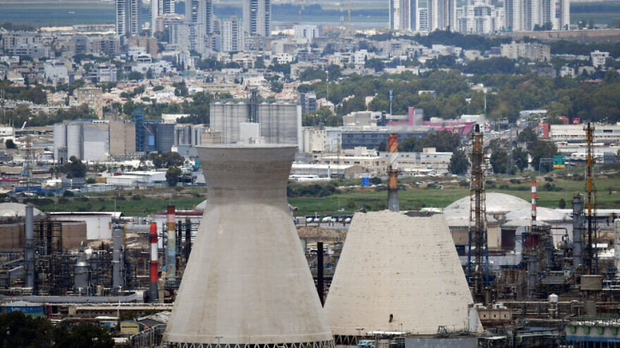 A view of the water cooling towers at the Haifa oil refinery on June 12, 2020, after one of them collapsed on Friday morning. Photo by Meir Vaknin/Flash90.