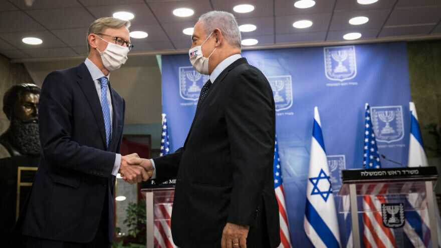 Israeli Prime Minister Benjamin Netanyahu meets with Brian Hook, U.S. Special Representative for Iran and denior sdviser to the U.S. Secretary of State, at the Prime Minister's Office in Jerusalem on June 30, 2020. Photo by Olivier Fitoussi/Flash90.